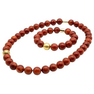 Kette & Armband (Koralle - Silber vergoldet)