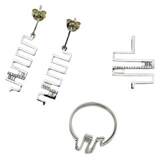 Anhänger, Ohrhänger & Ring (Silber mit Zirkonia)