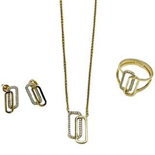 Collier, Ring & Ohrstecker (Gold mit Brillanten)