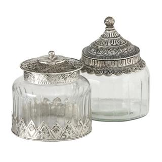 Glasdosen mit Metalldeckel