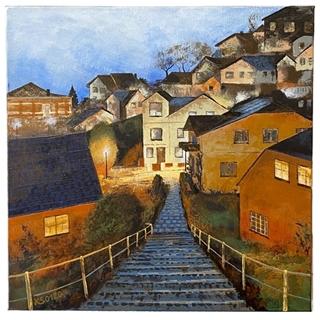 Treppenviertel (Acryl auf Leinwand | 50 x 50 cm | KS 0120)