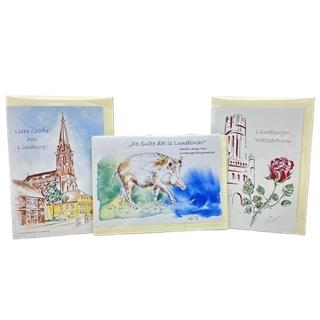 Künstlerische Postkarten mit Lüneburg-Motiven